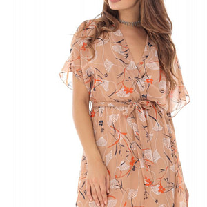 rochie peach din voal imprimat roh dr3914 8614 1