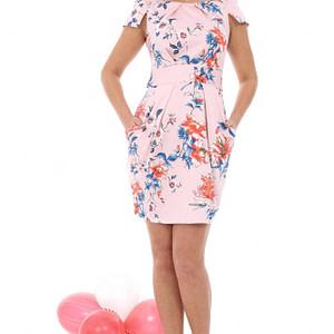 rochie piersica cu imprimeu floral dr2783 5139 1