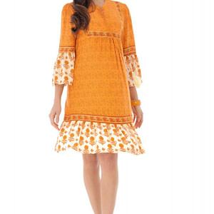 rochie portocalie cu motive florale si ciucuri roh dr4125 9228 1