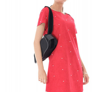 rochie rosie cu aplicatii de perle roh dr4013 8973 1