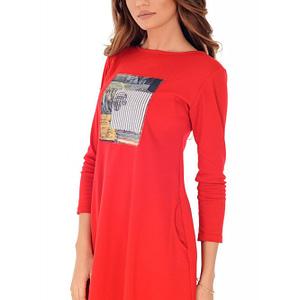 rochie rosie cu imprimeu dr2731 4964 1