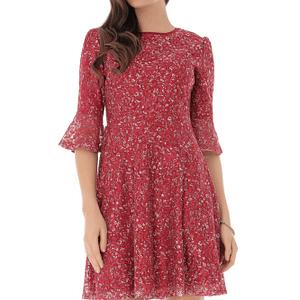 rochie rosie cu imprimeu floral alb roh dr4023 8969 1