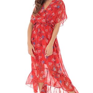 rochie rosie din voal imprimat roh dr3913 8613 1