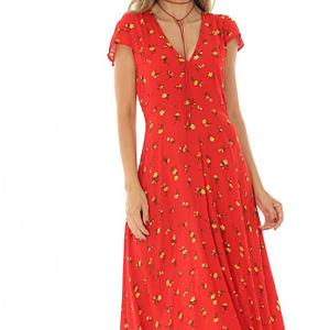 rochie rosie maxi din vascoza roh dr3880 8578 1