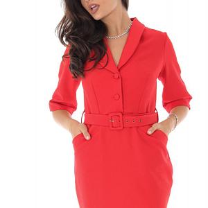 rochie rosie midi cu guler roh dr3909 8619 1