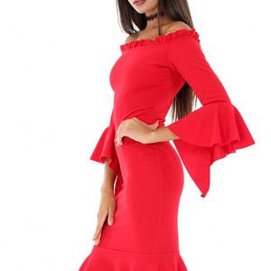 rochie rosie pe umeri dr3097 6100 1