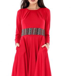 rochie rosie roh cu banda in talie dr3208 6544 1