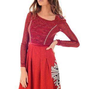 rochie rosie roh cu maneci lungi dr3668 7903 1