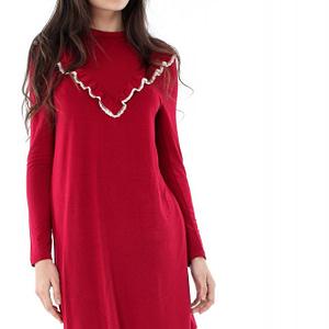 rochie rosie roh cu volan dr3235 6578 1