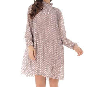 rochie roz pal plisata cu guler inalt roh dr4113 9169 1