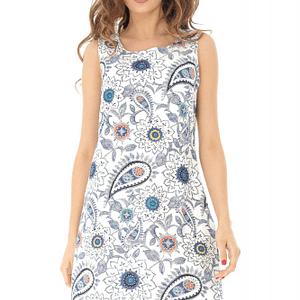 rochie scurta alba imprimata multicolor roh dr3775 8241 1