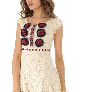 rochie scurta crem cu flori rosii roh dr3772 8231 1