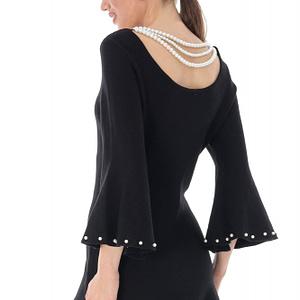 rochie scurta neagra accesorizata cu perle roh dr3712 8050 1