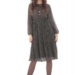 rochie superba din chiffon roh neagra cu fusta plisata dr4241 9670 1