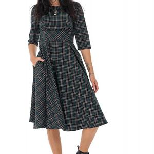 rochie tartan in stilul anilor 50 verde roh dr4205 9513 1