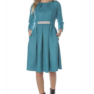 rochie turcoaz roh cu cordon dr3707 8019 1