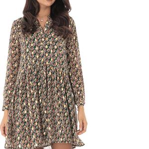 rochie verde cu imprimeu frunze si cu maneci trei sferturi roh dr3981 8859 1