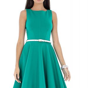 rochie verde fara maneci accesorizata cu o curea alba dr3152 6279 1