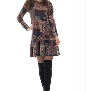 rochie vintage maro cu imprimeu petice roh dr4249 9677 1