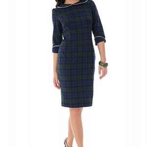 tartan check pencil dress green roh dr4164 9379 1