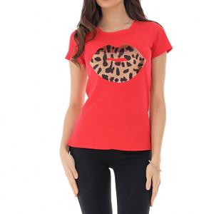 tricou rosu cu buze din paiete roh br2272 9188 1
