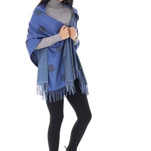 wool blend casmir shawl blue roh a0438 9646 1