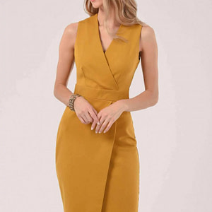 yellow wrap top pencil dress roh dr4226 9530 1