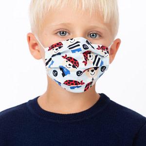 Masca de fata pentru copii imprimeu pirati bleu scaled