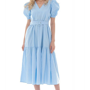 baby blue cotton midi with matching belt and puffed sleeves dr4259 aimelia 9735 1 e1617437616420