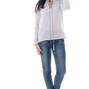 bluza de dama casual roh bleu alb cu broderie br2391 9702 1 e1617399642383