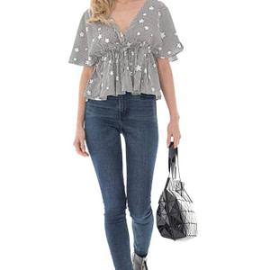 bluza de dama cu stelute roh crem negru crop top br2390 9701 1 e1617399615653