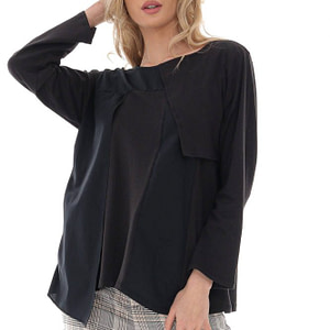 casual black cotton top with a chic trim roh br2396 9717 1 e1617436776618