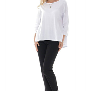 casual white cotton top with high low hem roh br2399 9723 1 e1617399393353