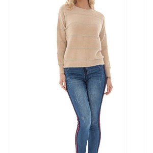cream cropped style jumper with a round neck aimelia br2401 9725 1 e1617437381399