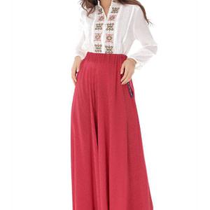 fusta rosie lunga cu buline albe roh fr465 9085 1 scaled