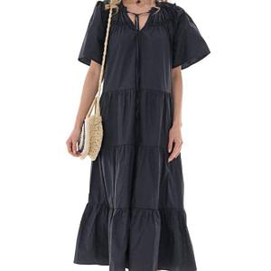 navy oversized midi dress in cotton aimelia dr4256 9732 1 e1617437540611