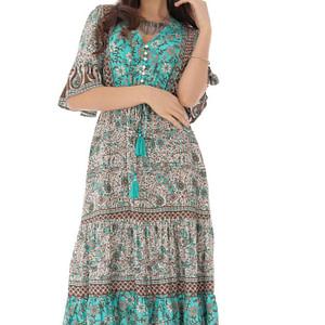 rochie turcoaz cu flori multicolore roh dr4110 9204 1 e1617399525794