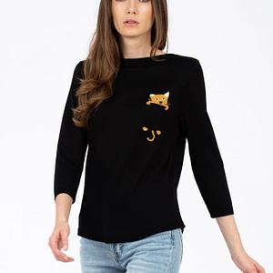 Bluza neagra buzunar cu pisica scaled