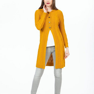 Cardigan mustar cu gluga scaled
