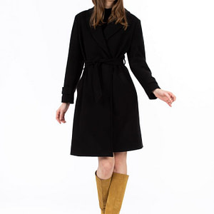 Palton negru cu cordon scaled