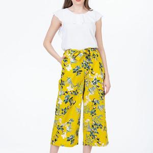 Pantaloni largi cu cordon si print floral scaled
