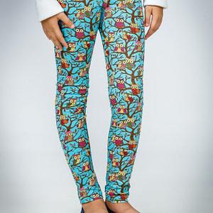 Pantaloni turcoaz cu imprimeu bufnite scaled