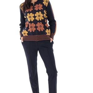 cardigan tricotat cu imprimeu daisey bleumarin orange roh br2341 9544 1 scaled