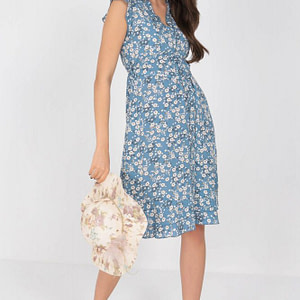 ditsy printed tea dress aimelia dr4277 in blue with frills and a belt 9791 1 scaled