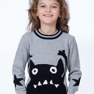 pulover tricotat gri cu monstrulet negru scaled