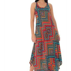 rochie maxi de vara cu imprimeu aztec rosu roh dr4190 9456 1 scaled