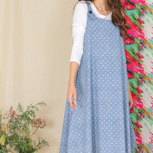 cotton pinafore aimelia dr4292 in denim and white with pockets 9811 1