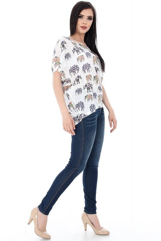 bluza alba cu imprimeu elefanti br1359 5627 2