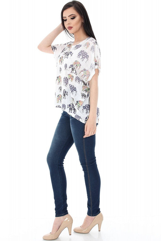 bluza alba cu imprimeu elefanti br1359 5627 3