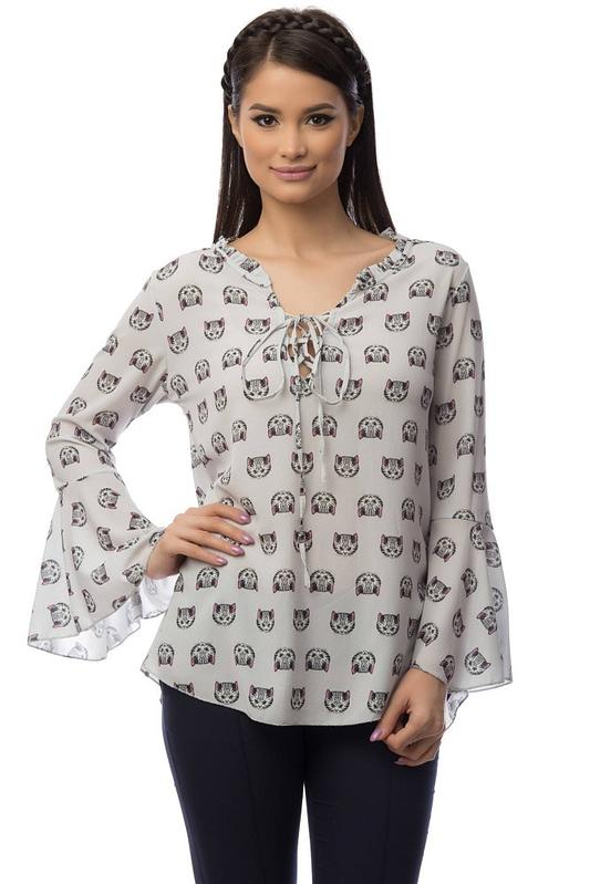 bluza gri cu imprimeu pisicute br1404 5841 3